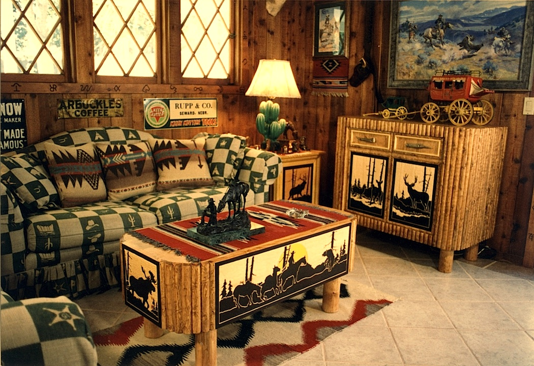 A drifting cowboy cowboy chic lure of the dim trails for Cowboy living room ideas