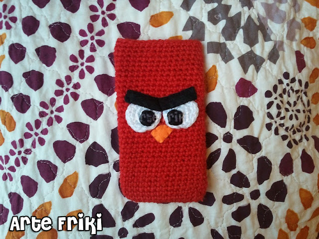 crochet funda ganchillo angry birds pájaro rojo