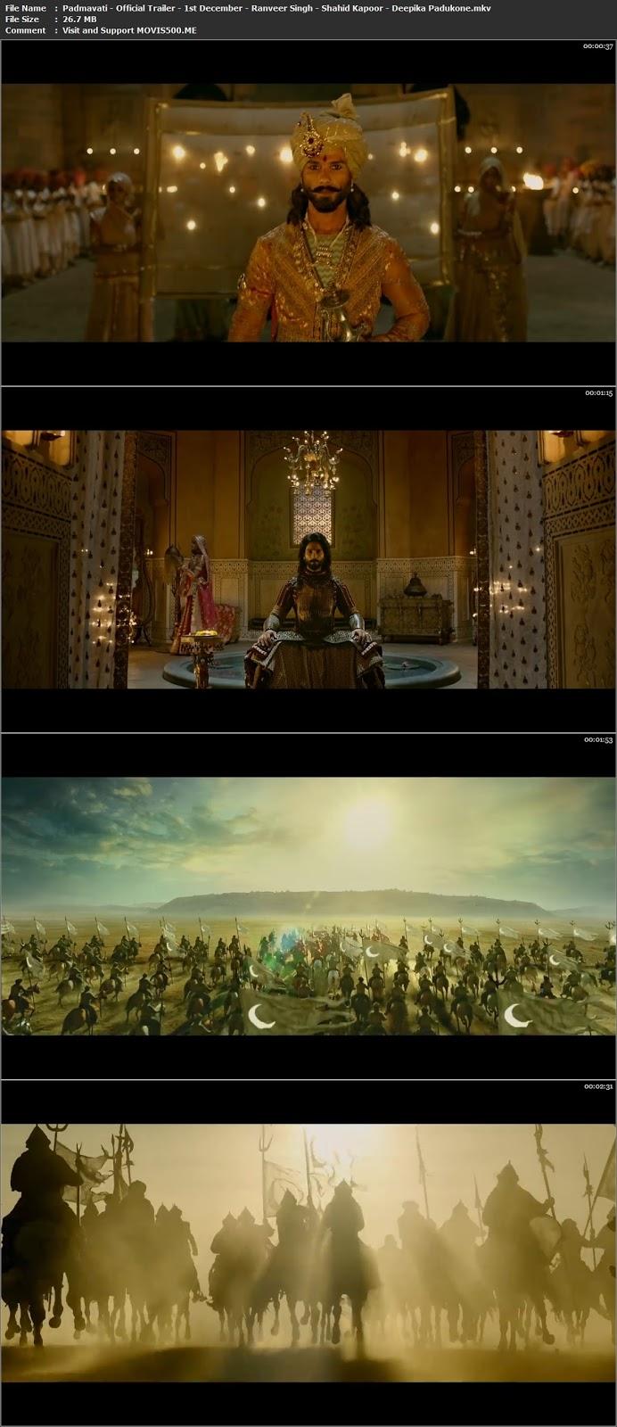 Padmavati 2017 Hindi Official Trailer HD Download 720p