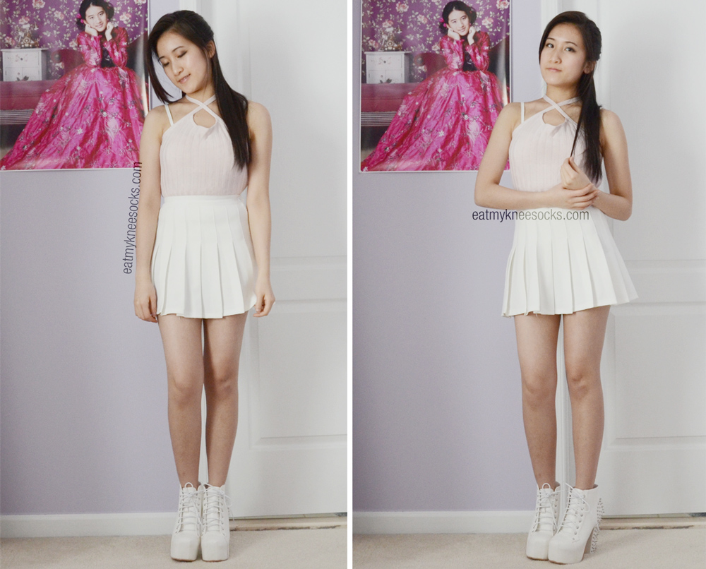 More OOTD photos with the American Apparel white pleated tennis skirt, JollyChic ribbed knit crop top, and Milanoo spiked heels.