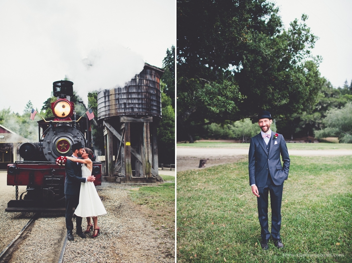 """""""vintage bride and groom photos at Roaring Camp Railroads"""""""