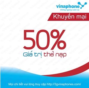 Vinaphone khuyến mãi 50% giá trị thẻ nạp trong ngày 20/11
