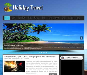 Holiday Travel blogger template. download travel template for blogger