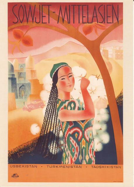 1934 Cartel Soviético de Turismo Vintage, Asia Central Soviética, Uzbekistán, Turkmenistán, Tadshikistán