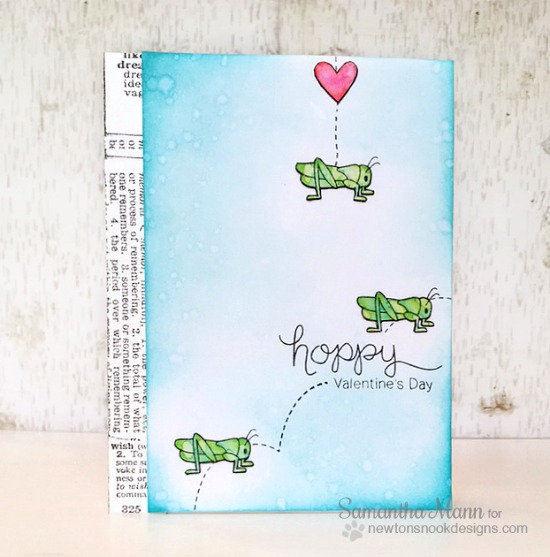 Grasshopper Valentine Card by Samantha Mann | Hoppy Days Valentine Stamp Set by Newton's Nook Designs #newtonsnook