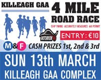 New 4 mile race in Killeagh in East Cork...Sun 13th March 2016