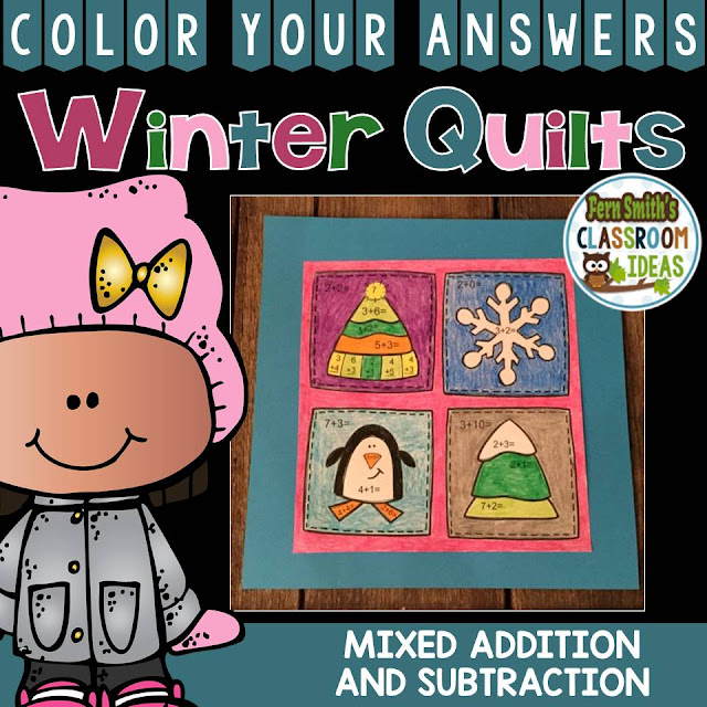 Fern Smith's Classroom Ideas Winter Quilt Color By Code Craft for Winter Addition and Subtraction at TeacherspayTeachers, TpT.