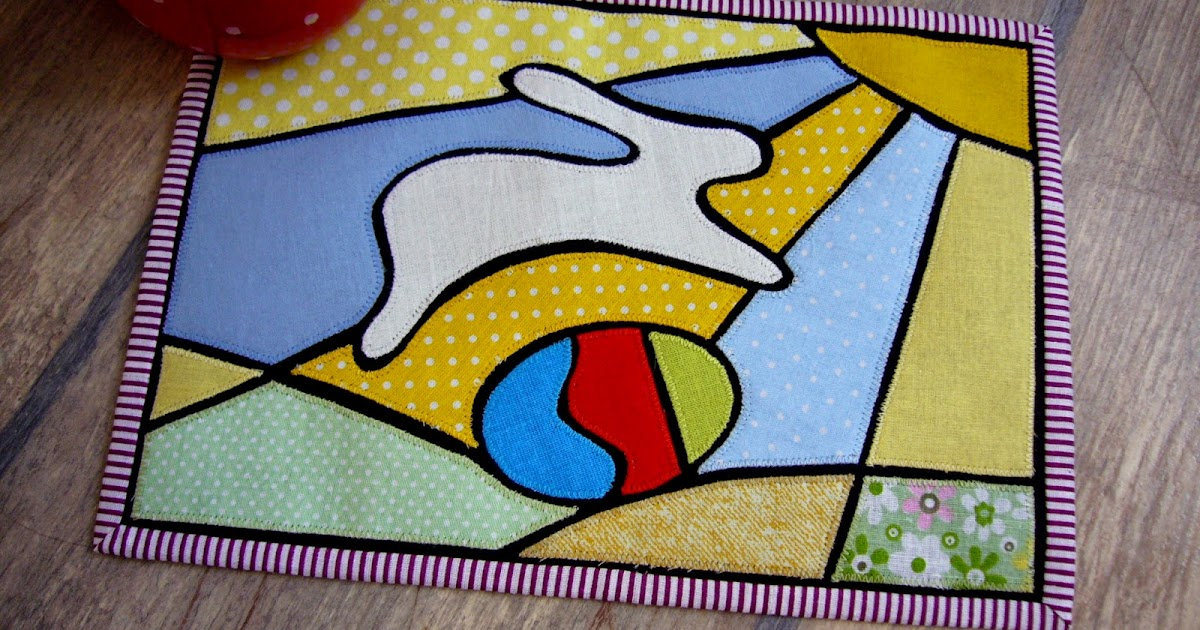 3patchcrafts Easter Bunny Stained Glass Mug Rug