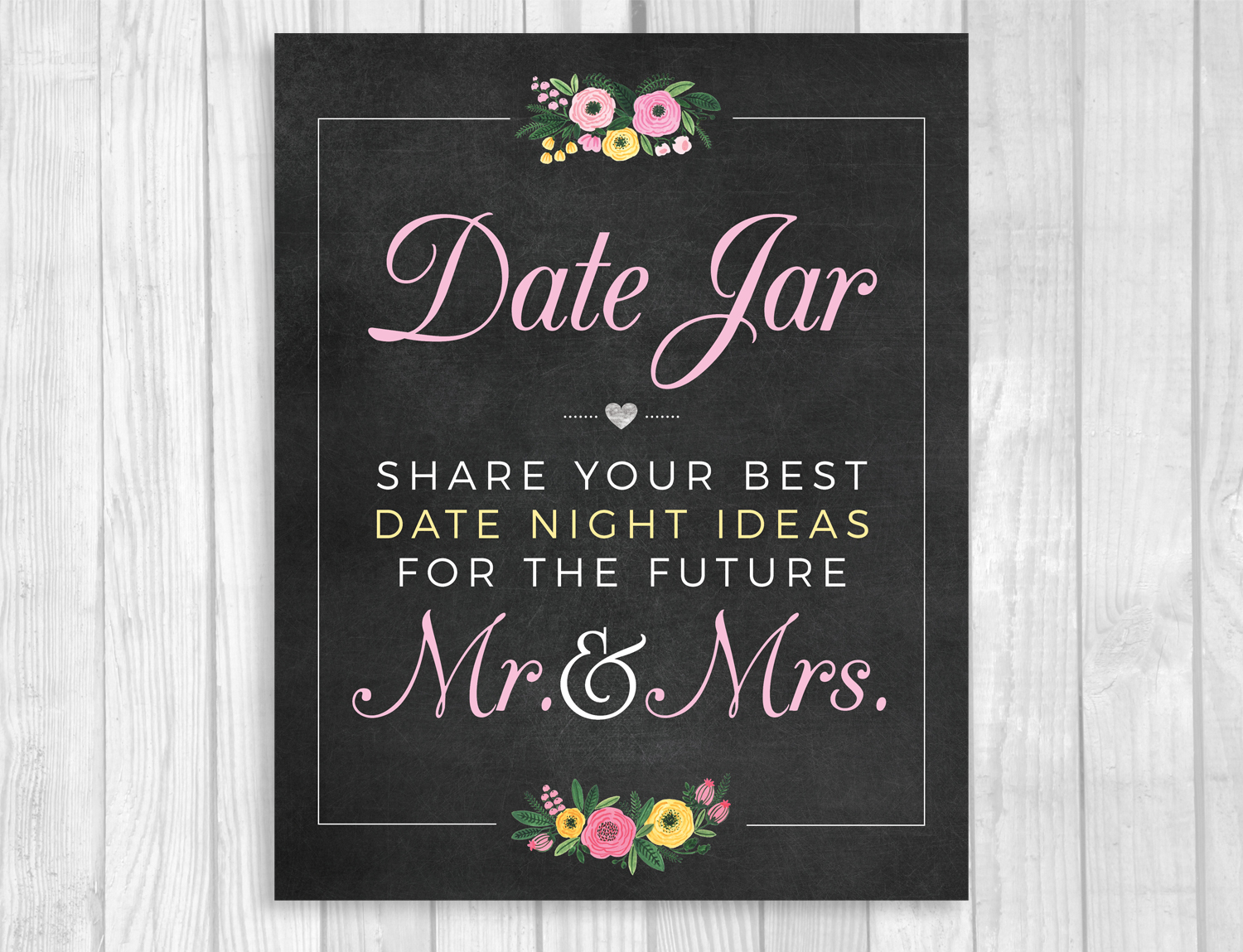 photograph regarding Date Night Jar Printable identify Day Jar Printable Bridal Shower Chalkboard Indication with Purple