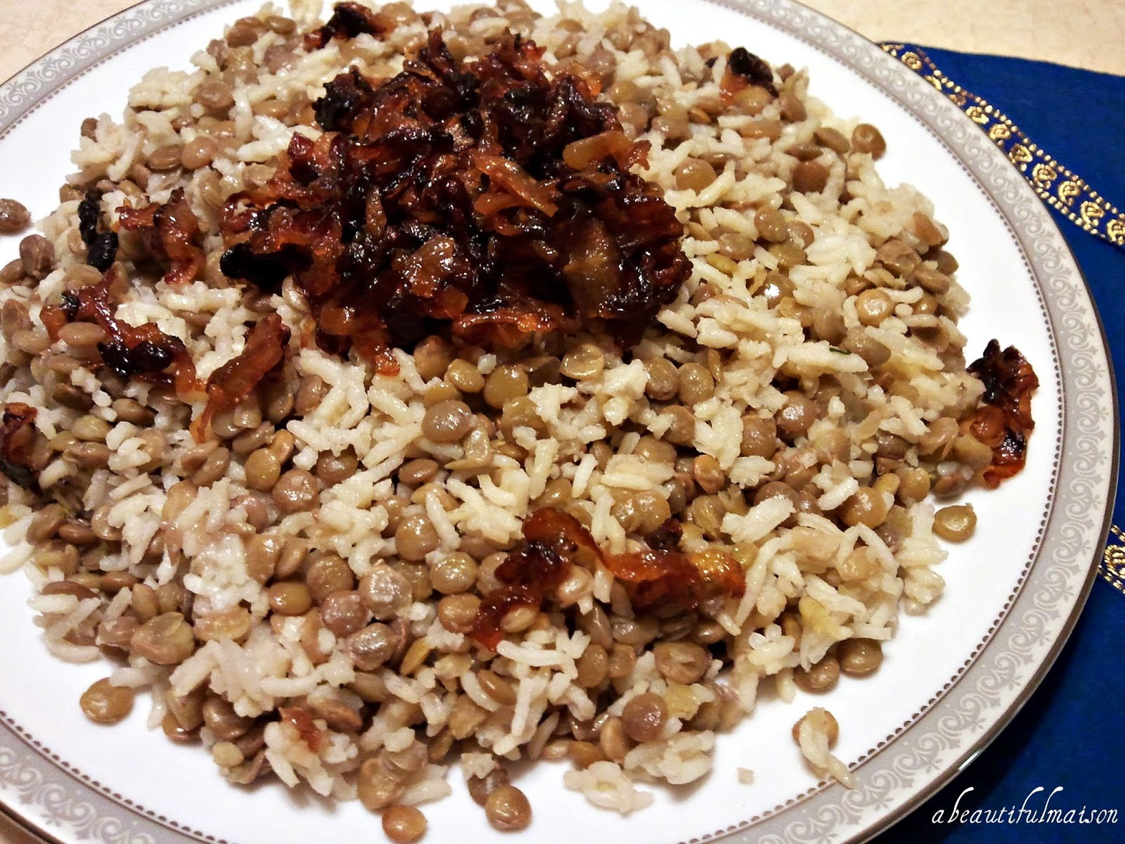 beautiful maison: Lentil and Rice with Fried Onion: Moujadara ...