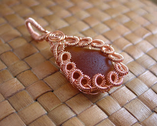 Coiled Copper Wire on Authentic Sea Glass Pendant by Vicky Brown of Shore Debris