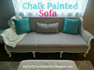 Chalk Painted Sofa Reveal / painted upholstery tutorial yard sale sofa / mythriftstoreaddiction.blogspot.com