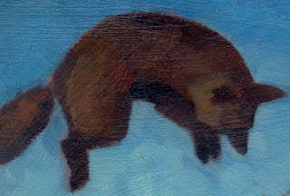 close up, unfinished oil of jumping Fox