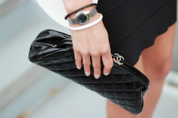 chanel timeless clutch black patent quilted