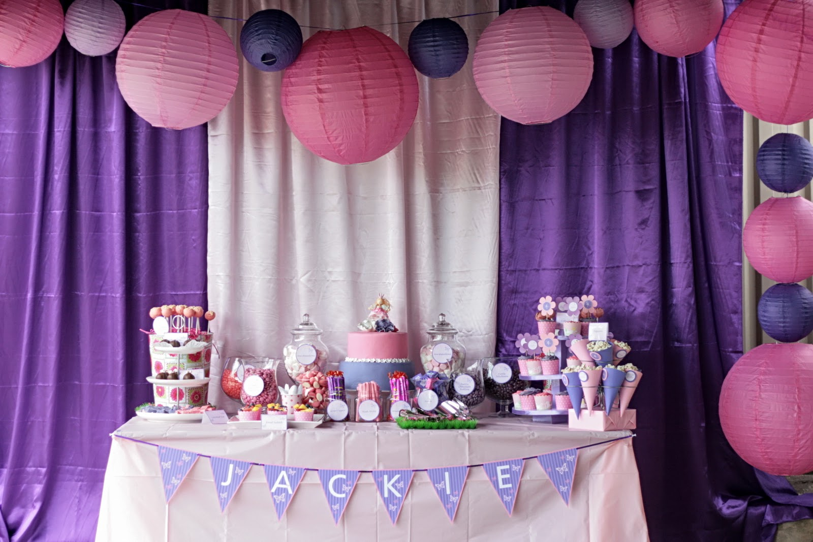 Kristys pink and purple dessert table