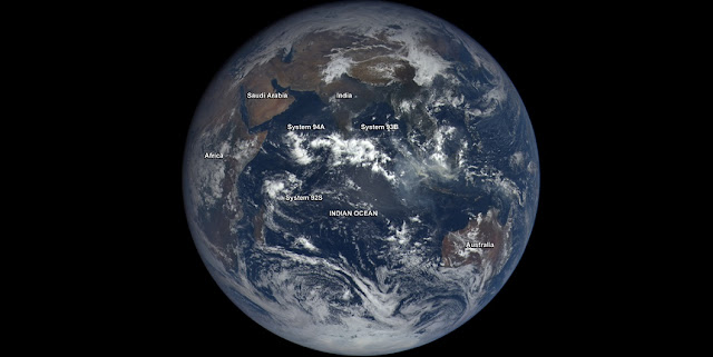 NASA' EPIC instrument that flies aboard NOAA's DSCOVR satellite captured three tropical low pressure areas developing in the Indian Ocean on October 25 at 05:37 UTC (12:37 a.m. EDT). Credits: NASA/NOAA
