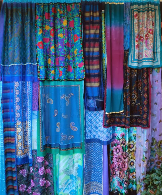 Turquoise Blue Bohemian Vintage Curtains