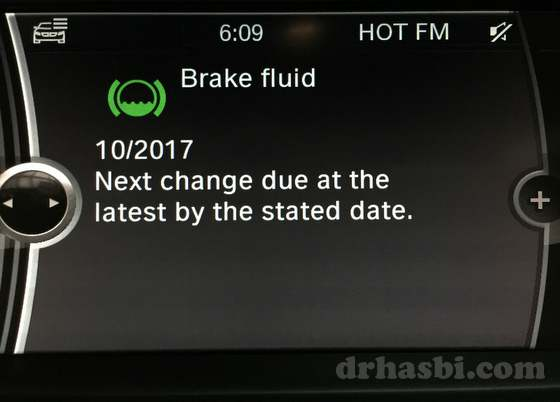 Sistem iDrive BMW yang canggih utk rekod servis brake fluid