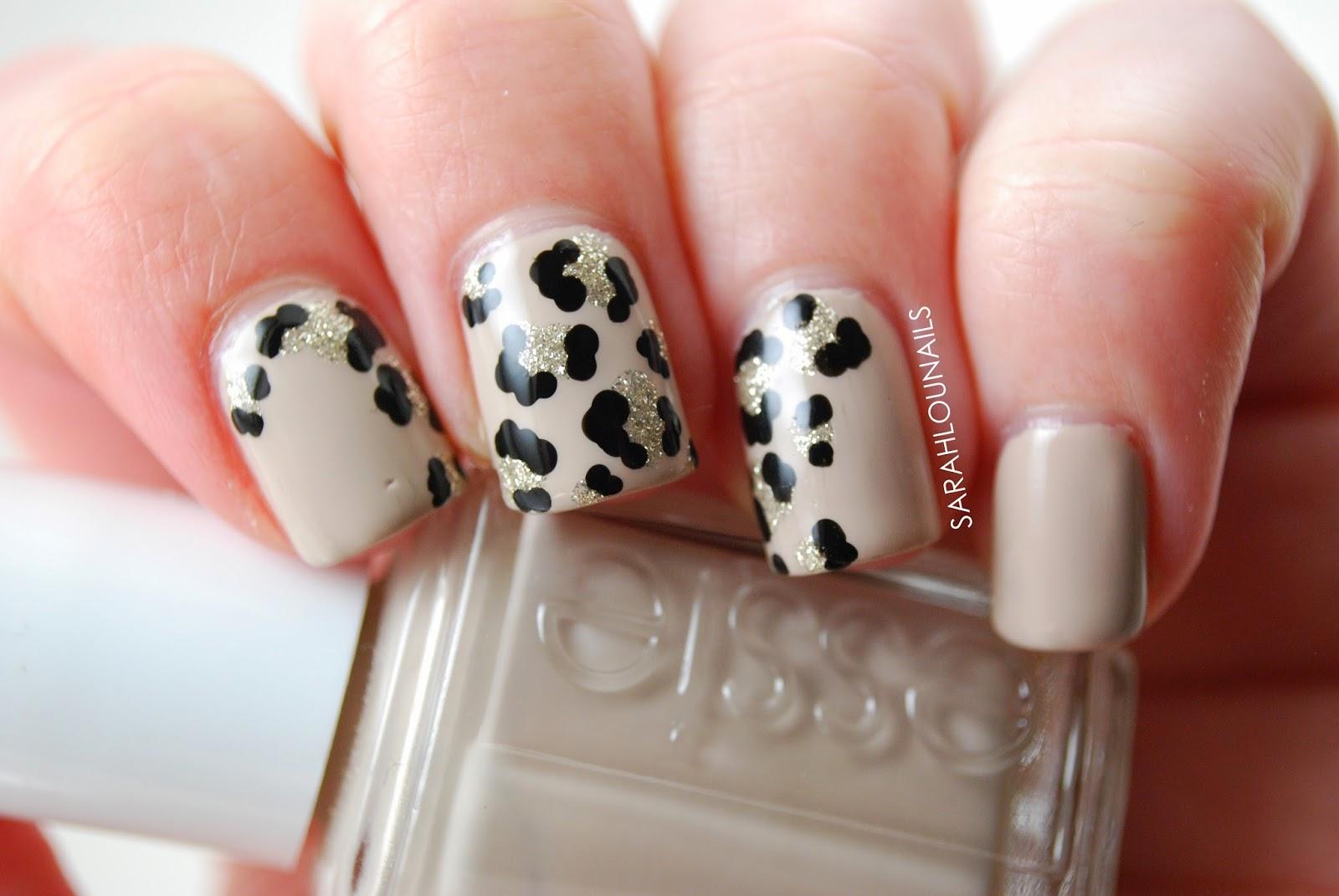 White leopard print nails
