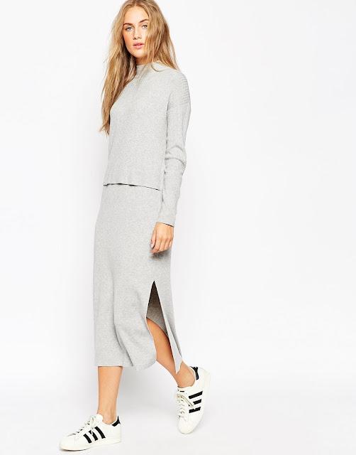 grey knit midi dress, knit layer midi dress,