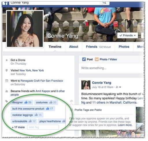 Ejemplo de etiquetas de perfil en Facebook - MasFB