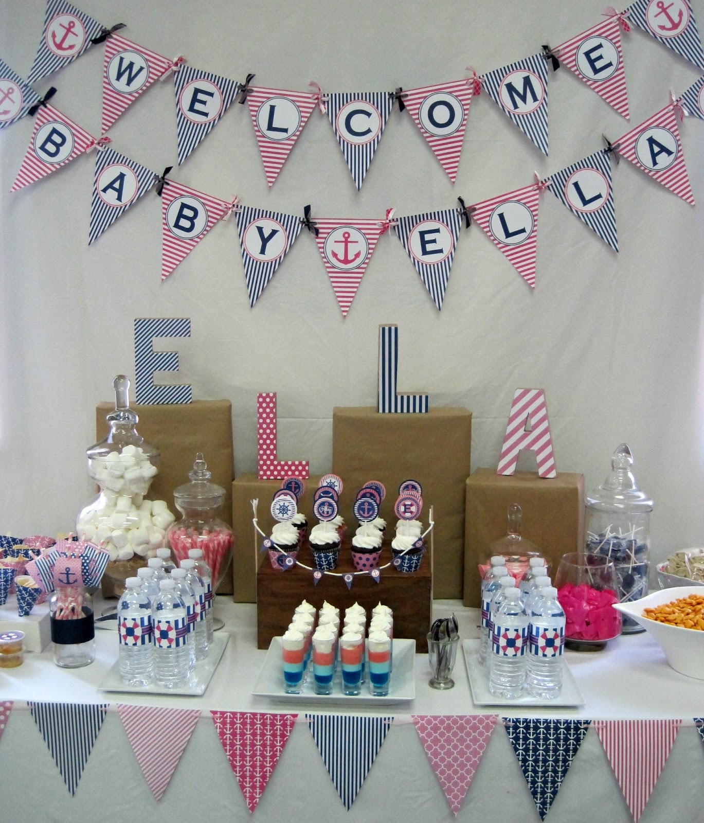 nautical themed baby shower table decor with sailboats
