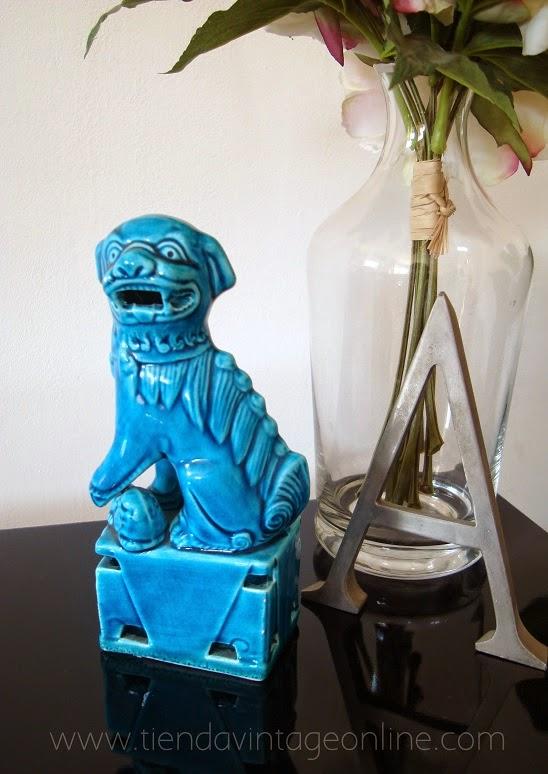 Perro foo azul turquesa