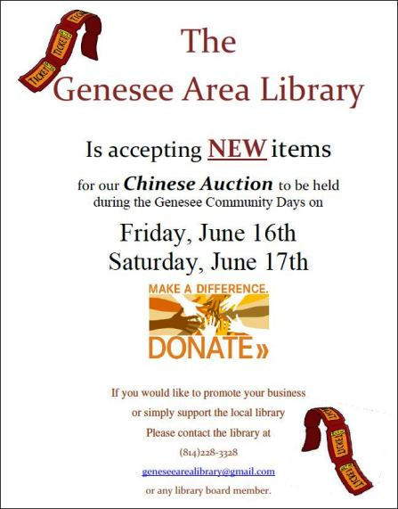 6-16 & 17 Genesee Library Chinese Auction