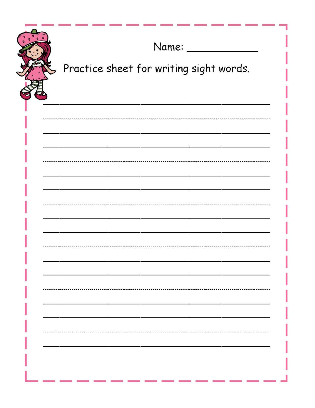 cursive writing practice sheet