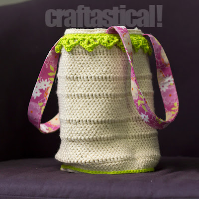 Easter bucket, crocheted, then lined with fabric and straps added