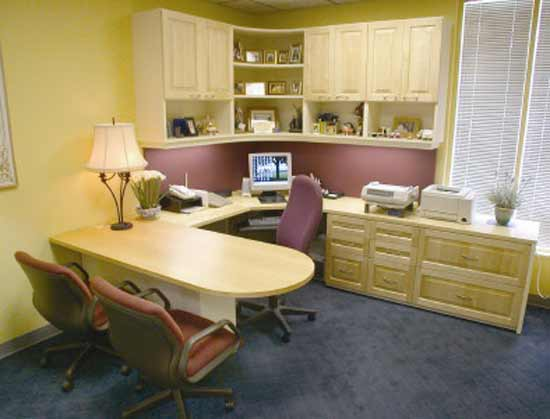 Small home office decorating ideas home interior designs for Small office interior design images
