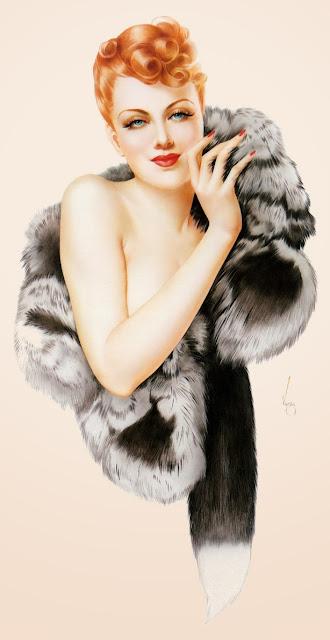 Varga girl calendrier Esquire pin-up sexy fourrure noire yeux verts décembre 1941 illustration dessin érotique