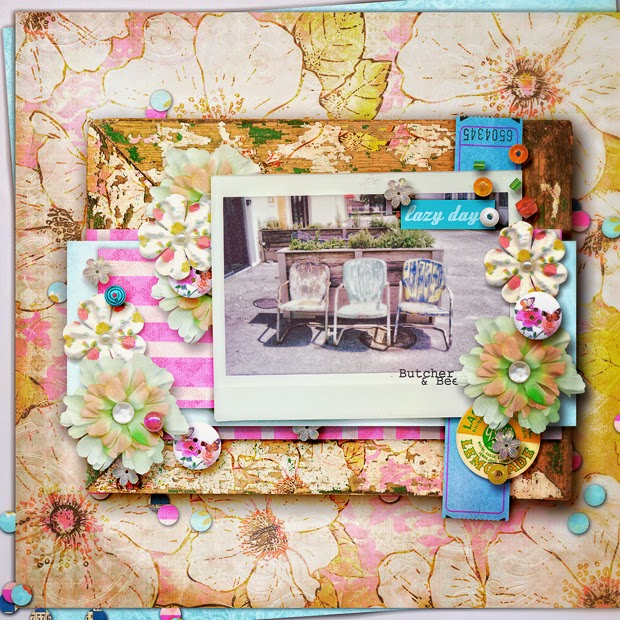 Lazy Day // Scrapbook Layout // 12x12 // Hello Summer by Juliana Kneipp and Studio Basic