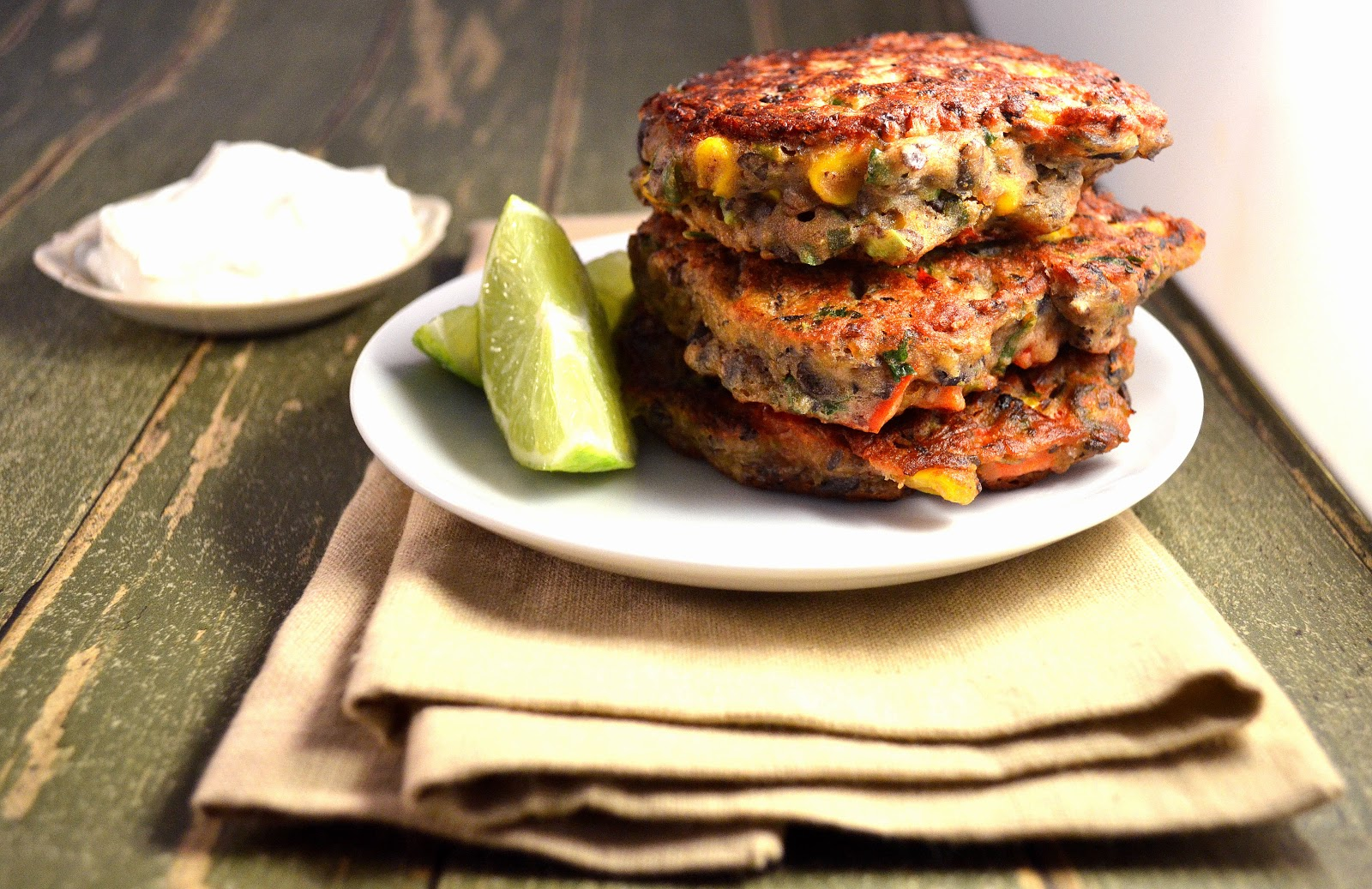 Light & Crispy Mexican Corn and Black Bean Fritters with Chili, Lime ...