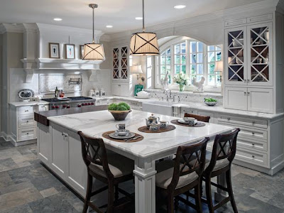 Large marble kitchen island