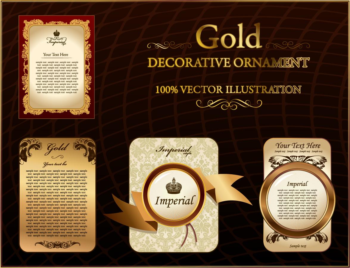 金色のレース柄が美しいフレーム gold lace pattern vector イラスト素材2
