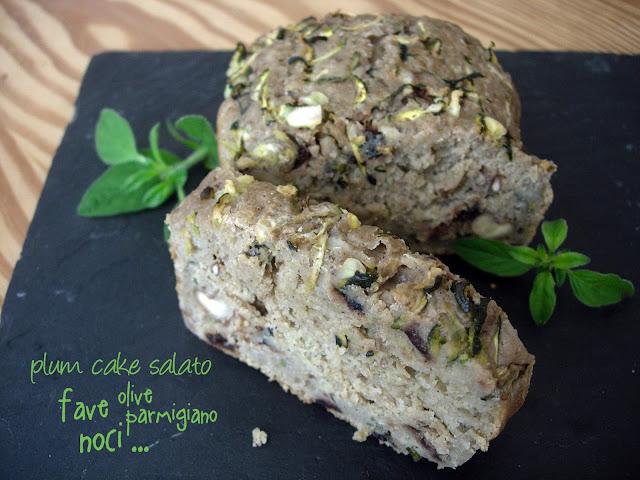 plum cake salato con fave, olive nere, noci, parmigiano...
