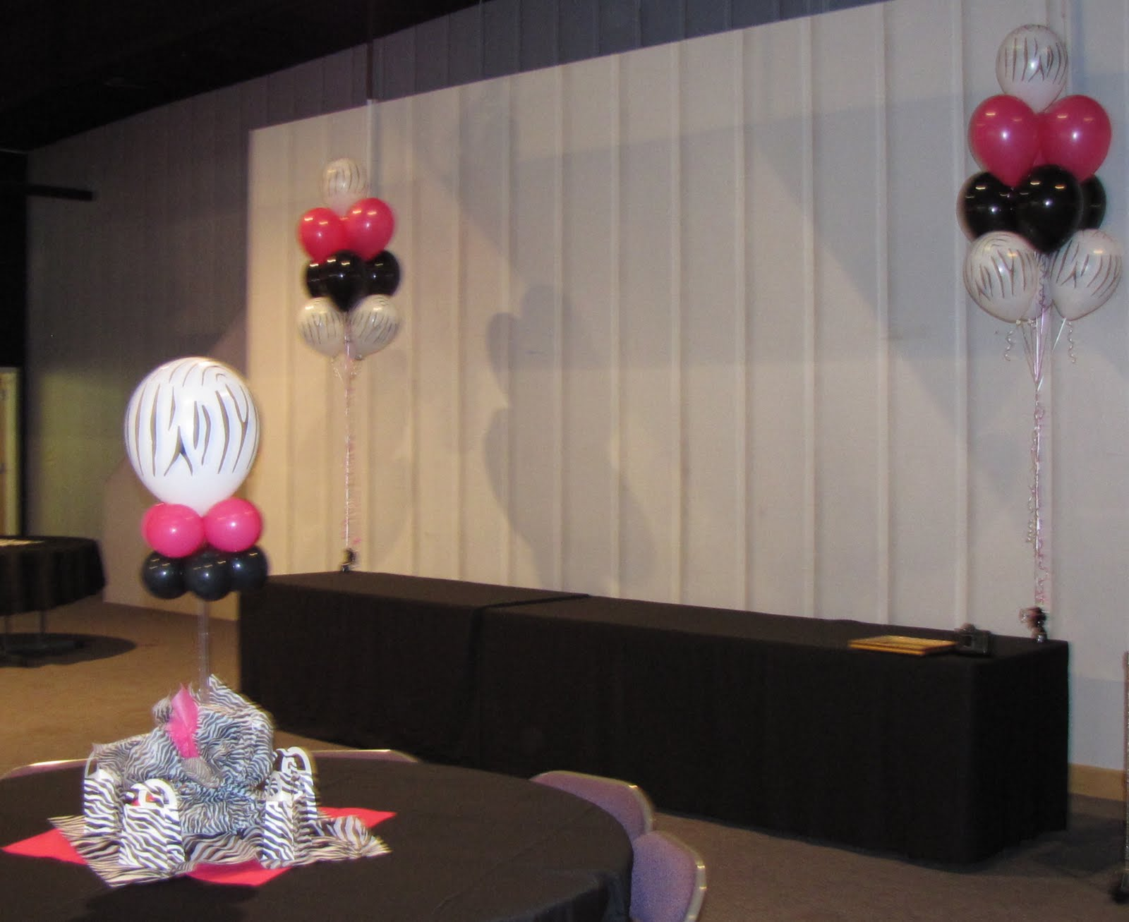 Party people event decorating company meghans zebra print for Balloon decoration companies
