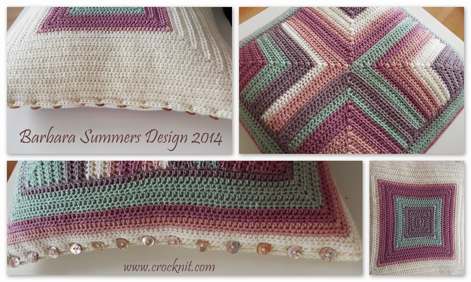 crochet mitered squares cushion pillow home decor