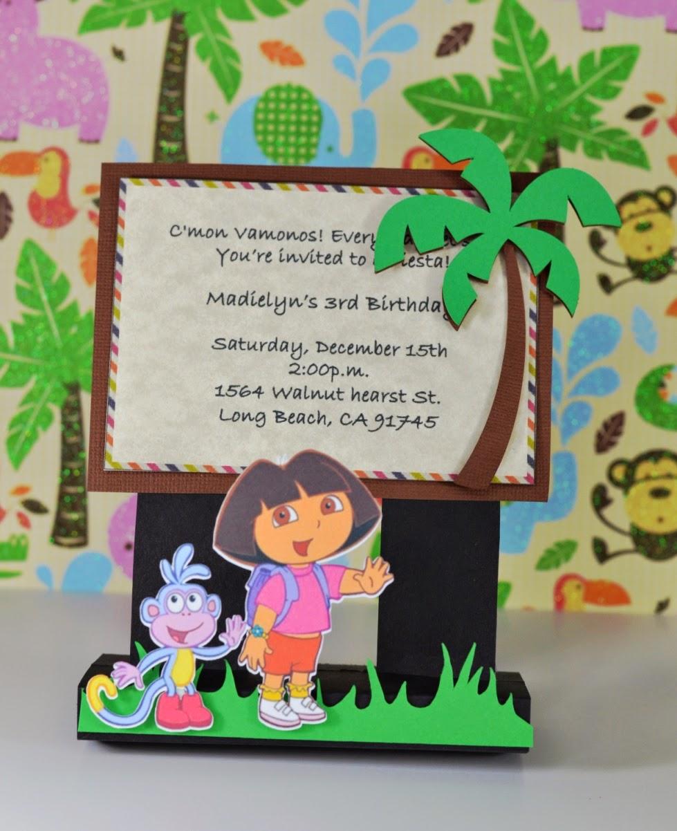Jingvitations Print and Cut Silhouette Cameo Handmade Dora the – Dora the Explorer Birthday Invitations