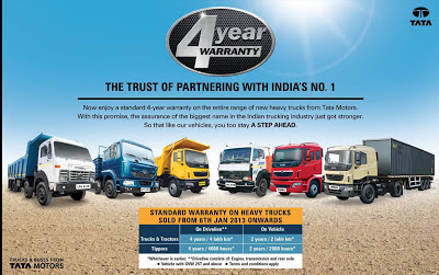 4 Year Warranty on Tata Vehicles