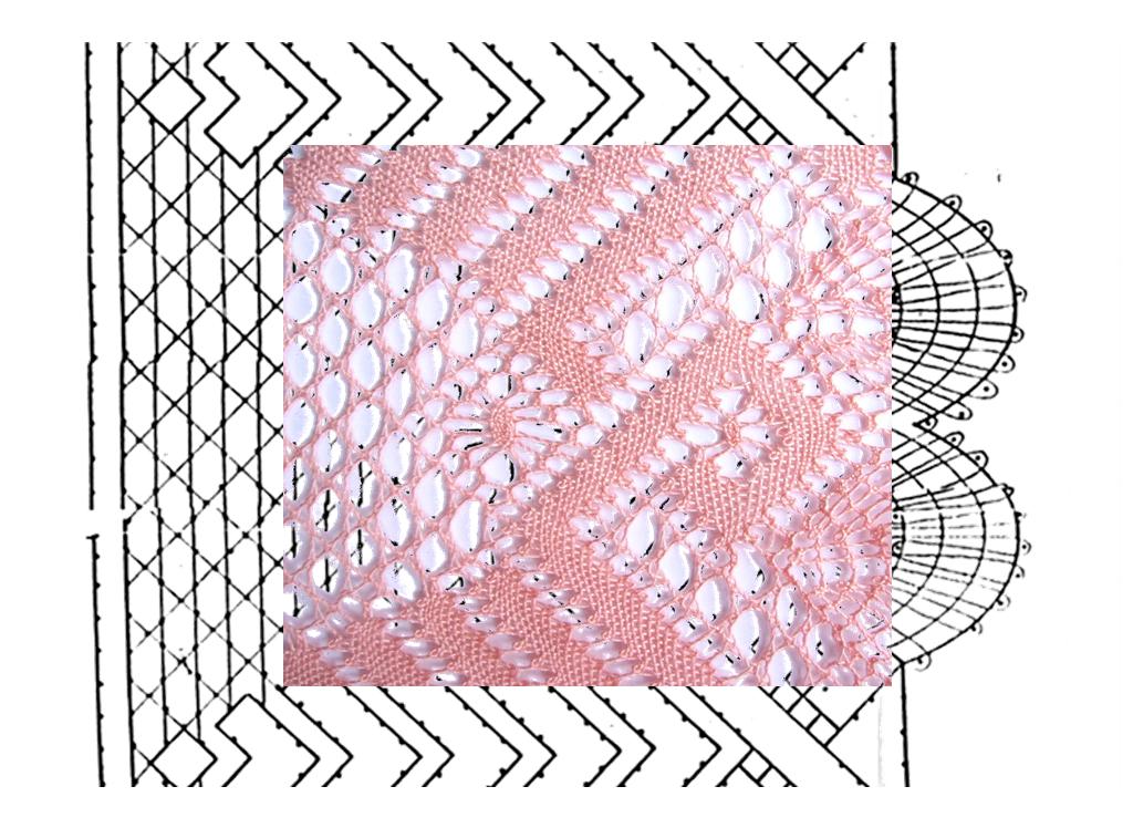 fotomontaje arañas o milanos sobre esquema-picado puntilla número 2 con esquina de encaje de bolillos