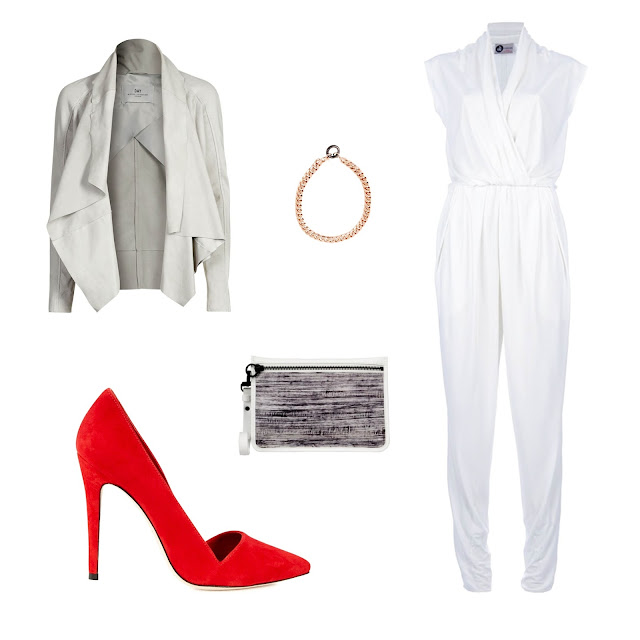 Alexander Wang clutch bag, Lanvin pleated full length jumpsuit, Day Birger et Mikkelsen day pele leather jacket, Dina pointed suede pumps, Maria Francesca Pepe chain necklace, stilight, net-a-porter, looks