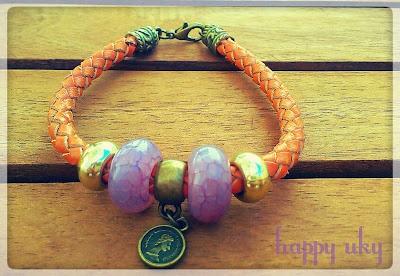happy uky pulseras medalla lila bracelets  cuero