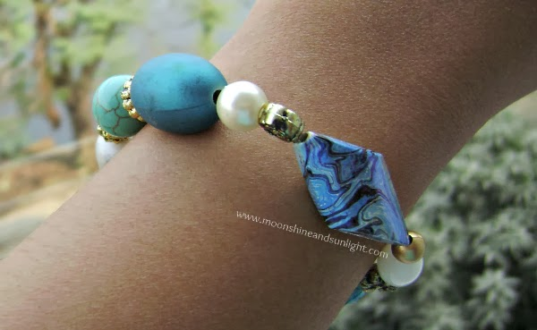 Blue mixed media bracelet