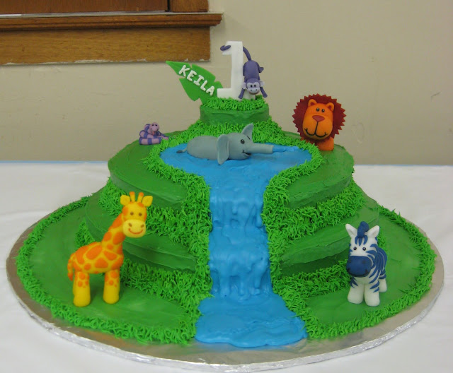 Jungle Animal 1st Birthday Cake