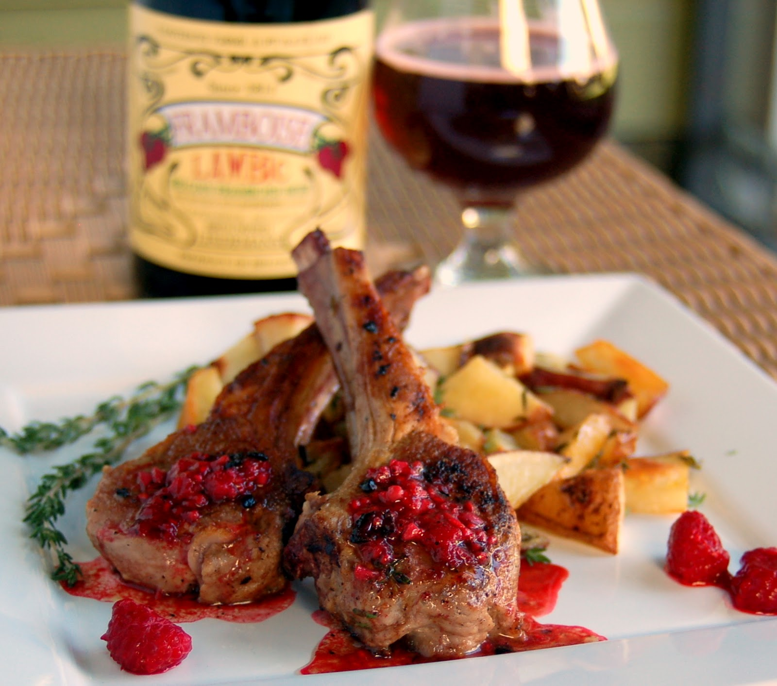 The beer cook valentines day lamb chops with roasted thyme valentines day lamb chops with roasted thyme potatoes and a framboise sauce forumfinder Gallery