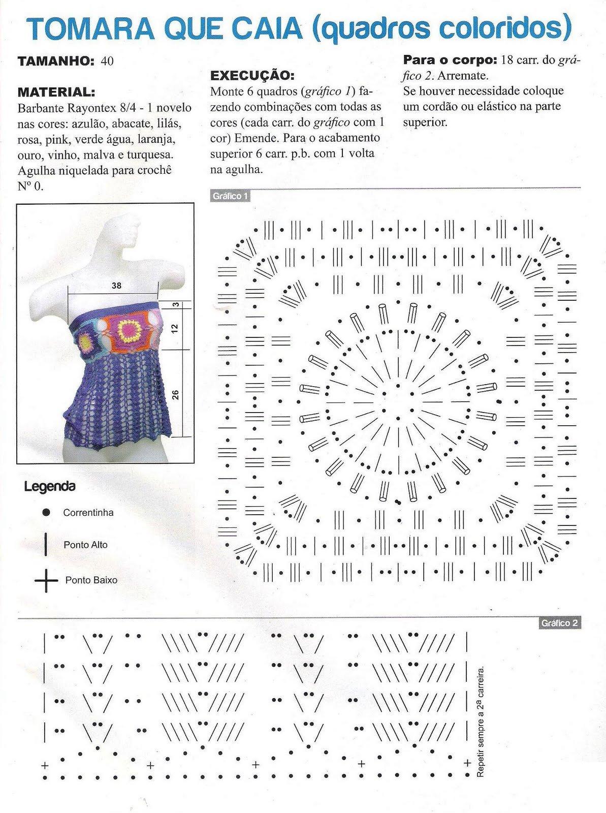 Top Granny sin tirantes Patron - Patrones Crochet