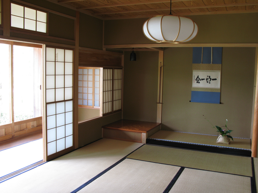 Japanese style interior design and house construction for Living room japanese
