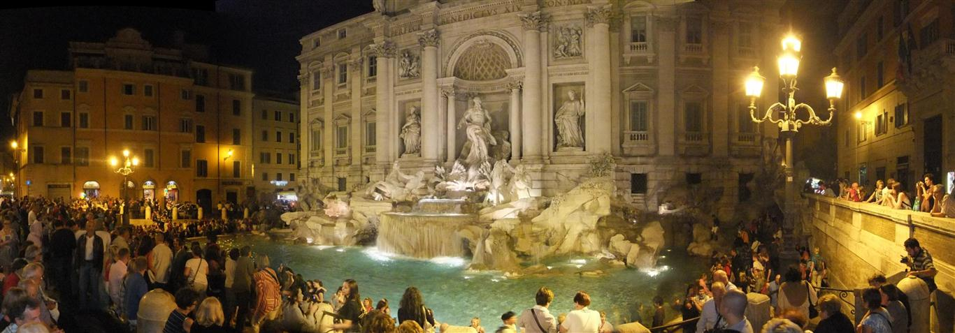 trevi fountain, rome italy, at night